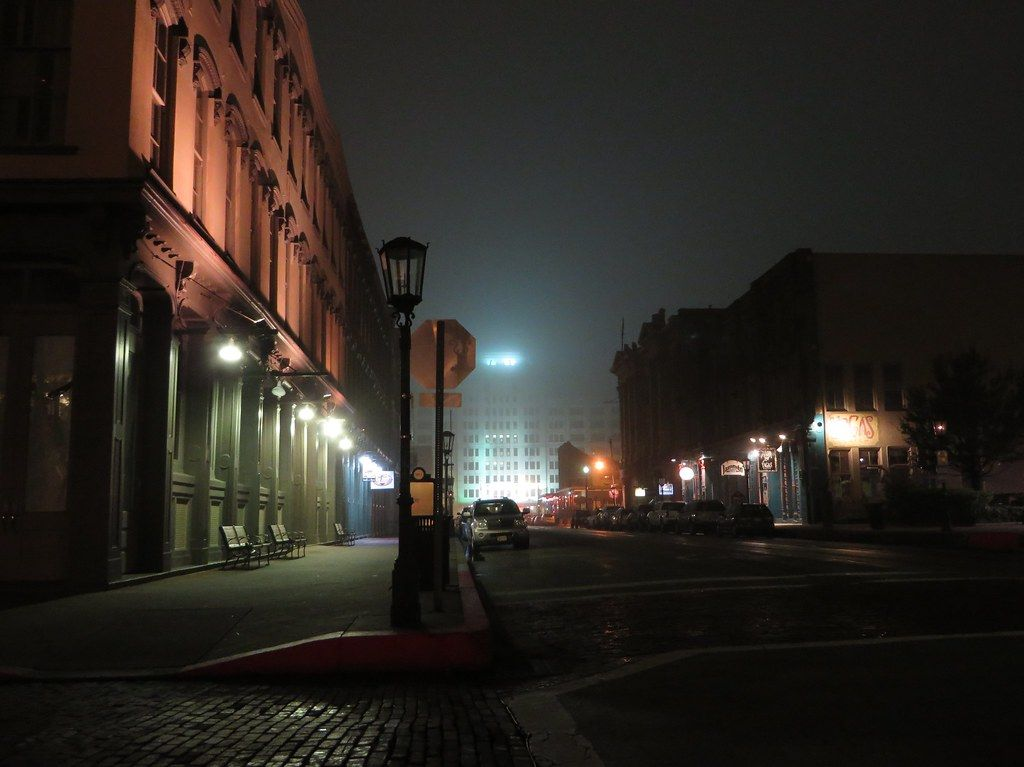 """""""Cold, Foggy, and Empty Night, The Strand Historic District, Galveston, Texas"""" by Ken Lund is licensed under CC BY-SA 2.0"""